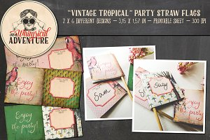 Vintage Tropical Party Straw Flags
