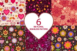 Set of six floral seamless patterns.