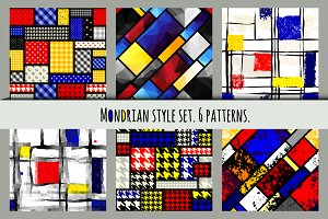 Set of patterns in Mondrian style