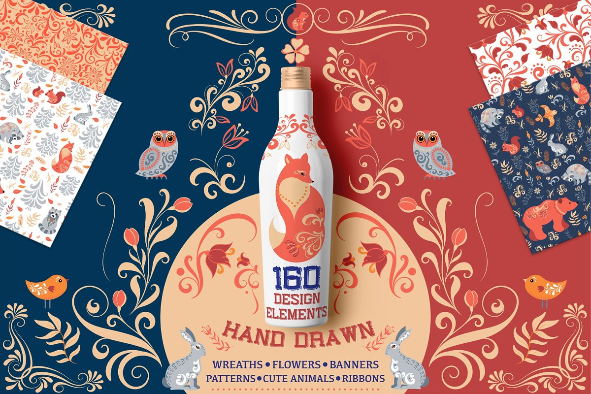 160 Hand Drawn Vector Elements in Illustrations - product preview 8