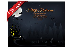 Set of 5 Halloween Greeting Cards