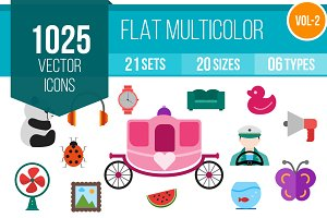 1025 Flat Multicolor Icons (V2)