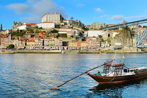 Porto view with traditional boats