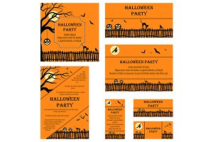 Set of 7 Halloween Invitation Cards
