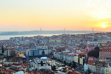 Lisbon Downtown in the sunset