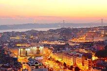 Lisbon city center at sunset