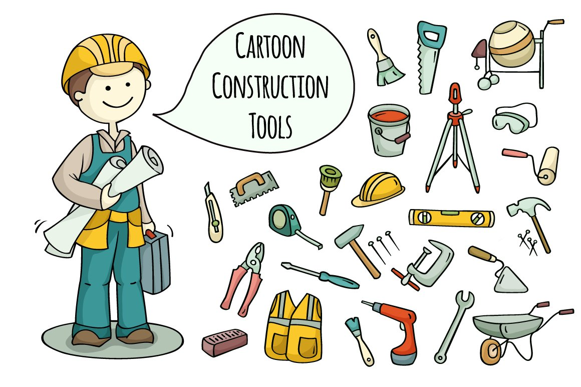 Cartoon Builder Construction Tools Graphic Objects