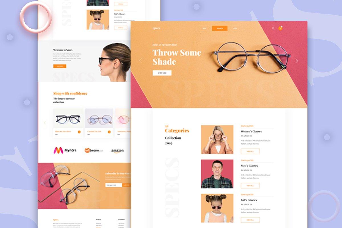 Specs E-commerce Landing Page