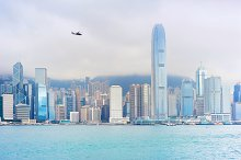 Helicopter flying above Hong Kong