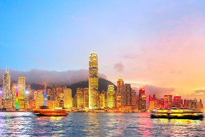 Panorama of illuminated Hong Kong