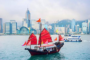 Traditional sailboat, Hong Kong