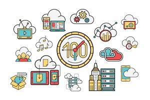 Cloud Services line and color icons