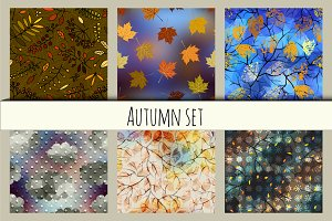 autumn patterns set.