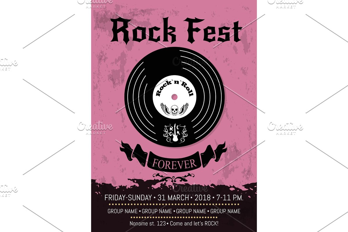 Rock Fest Announcement Vector