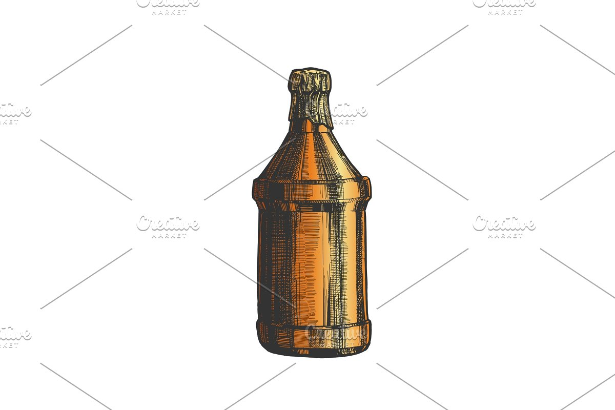 Hand Drawn Blank Beer Bottle Color