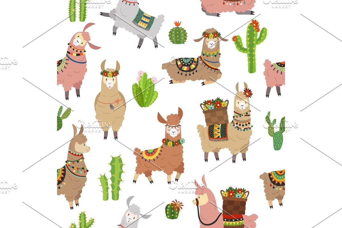 Llama seamless pattern. Baby llamas