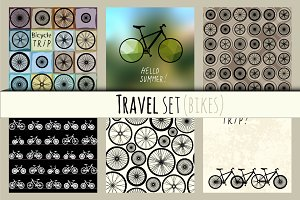 Set of backgrounds with bikes