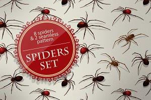 Spiders set, vector