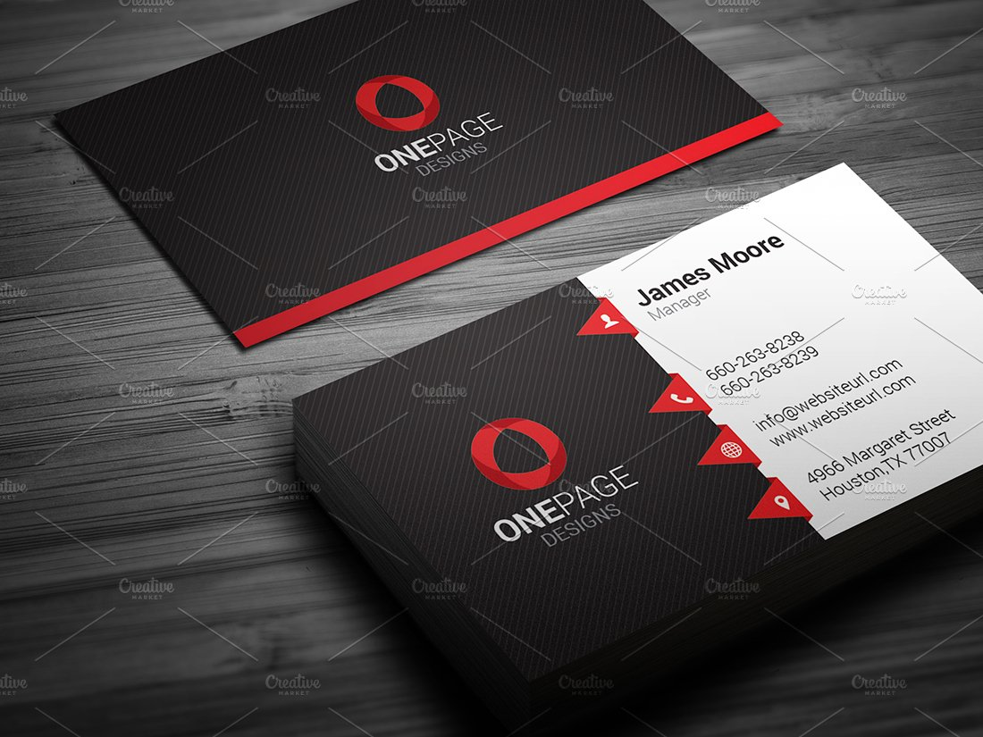 Red business card template flashek