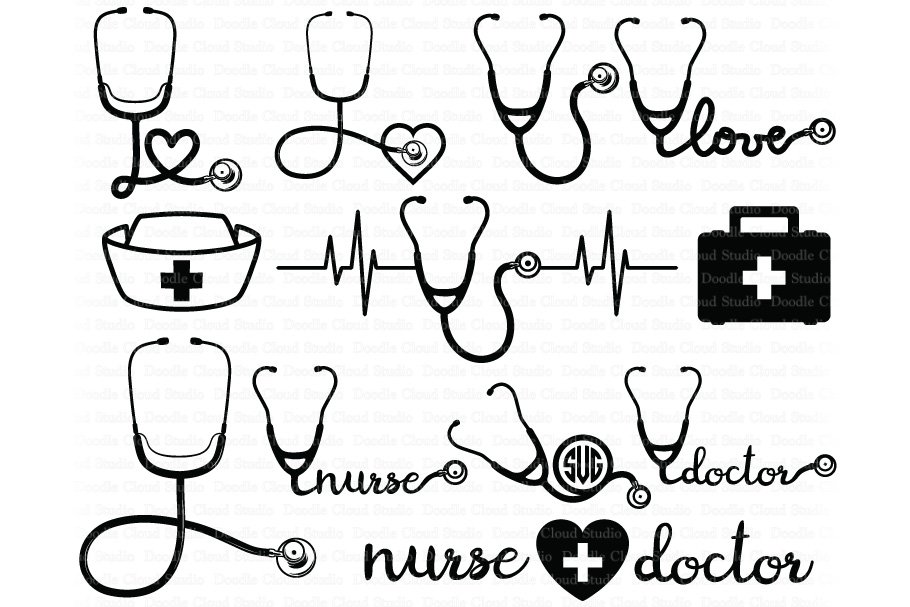Stethoscope Svg Bundle Nurse Svg Pre Designed Photoshop Graphics Creative Market