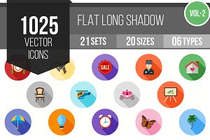 1025 Flat Shadowed Icons (V2)