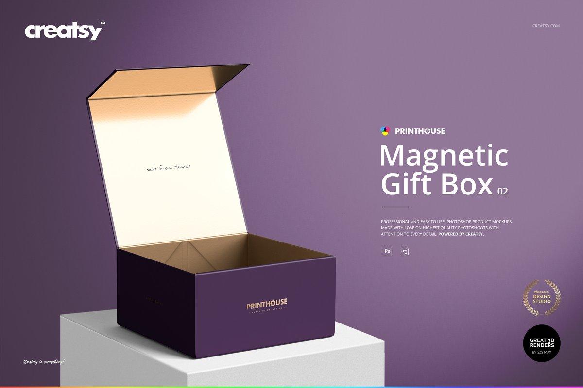 Magnetic Gift Box Mockup Set 02 Creative Product Mockups
