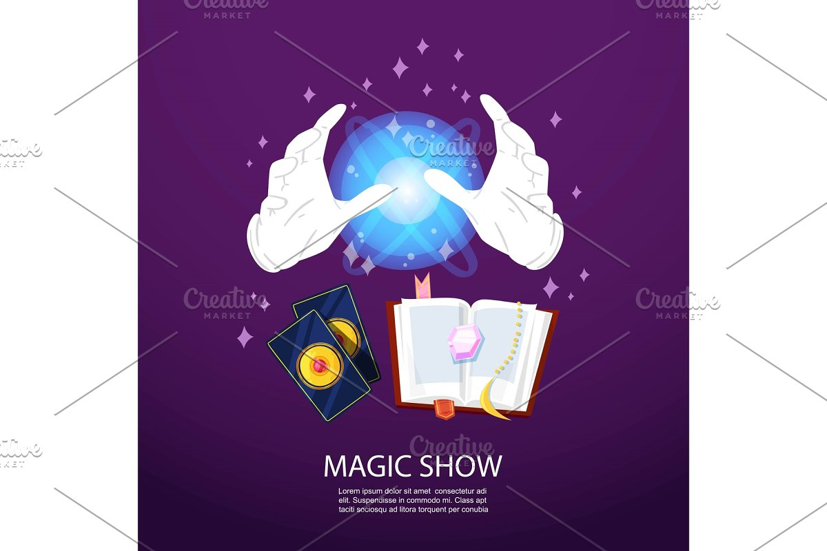 Magic trick and illusionist poster