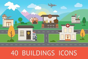 City Buildings Vector Icon Set