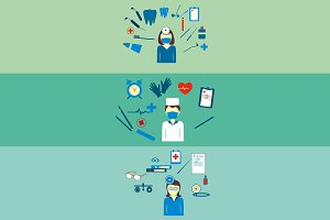 Medical flat icons,different doctor