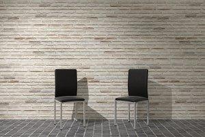 sillas cocina pared ladrillos blanco
