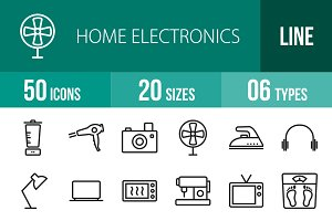 50 Home Electronics Line Icons
