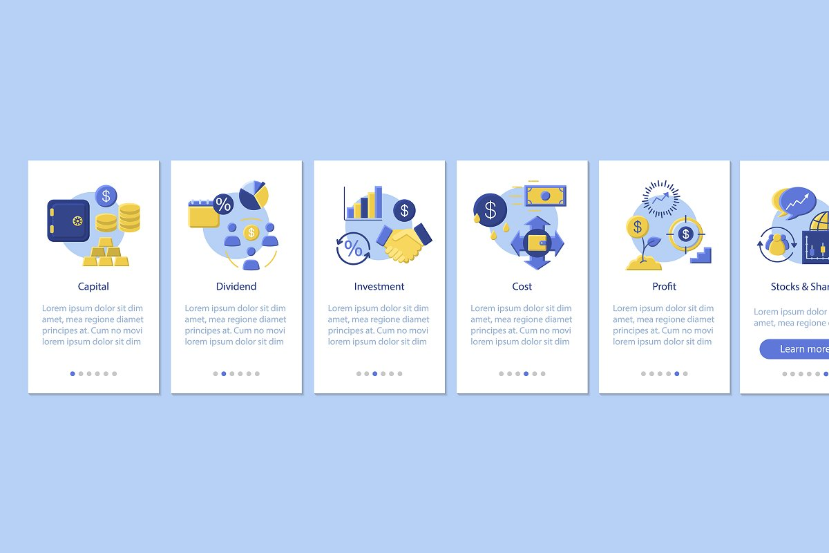 Financial management app pages