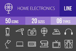 50 Electronics Line Inverted Icons