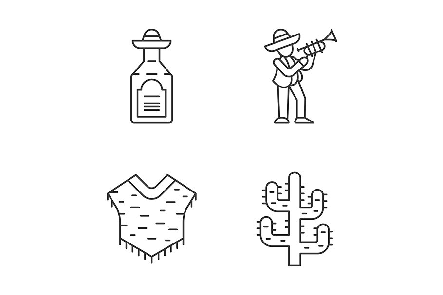 Mexican culture linear icons set