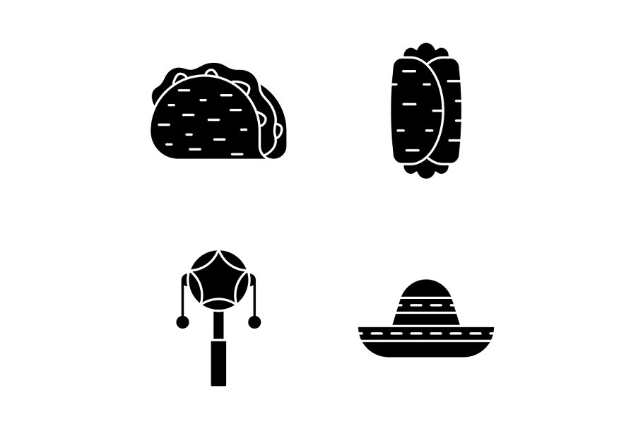 Mexican glyph icons set