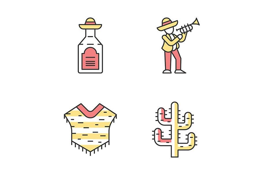 Mexican culture color icons set