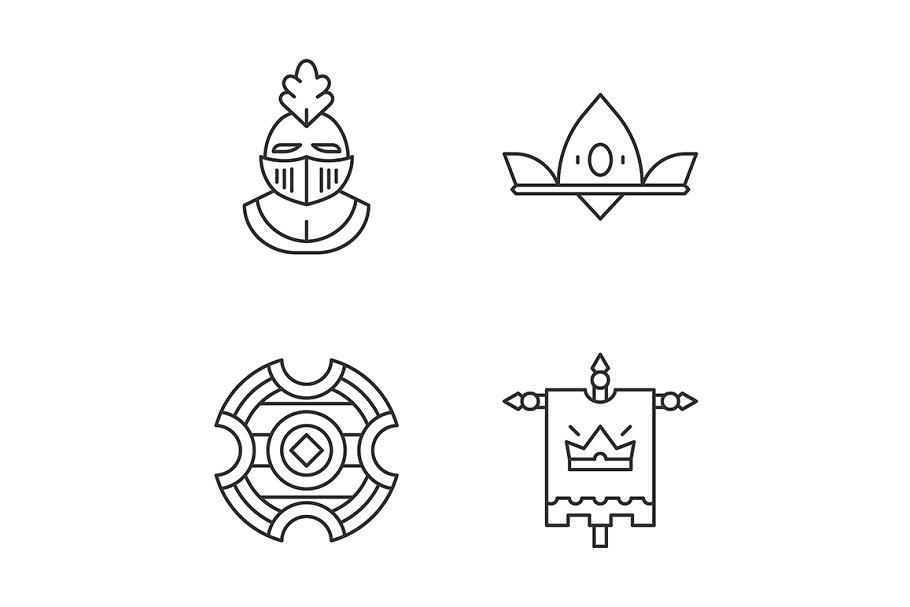 Meddieval linear icons set