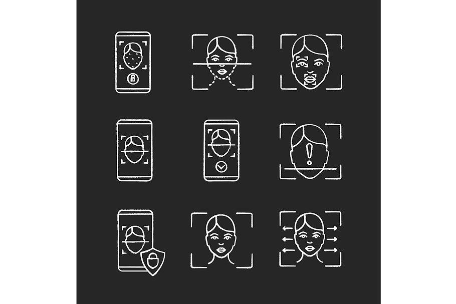 Facial recognition chalk icons set