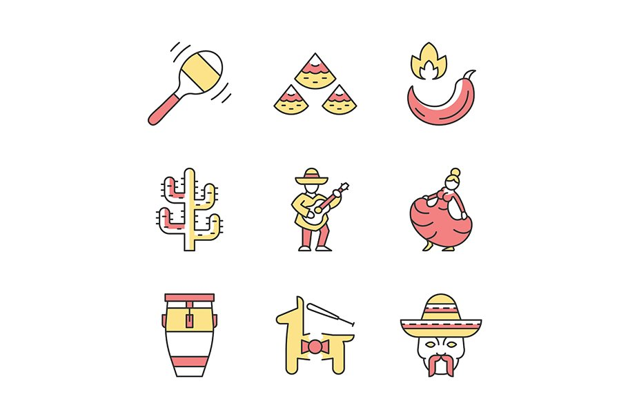 Mexican color icons set