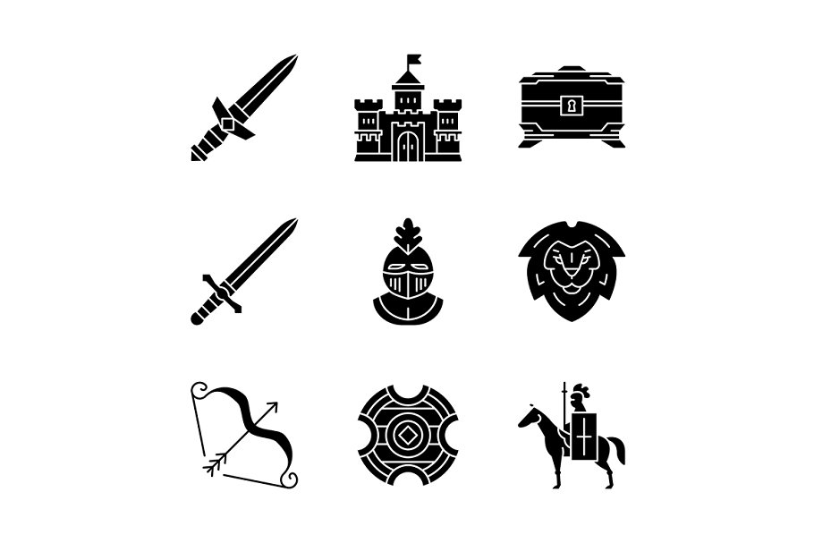 Medieval glyph icons set