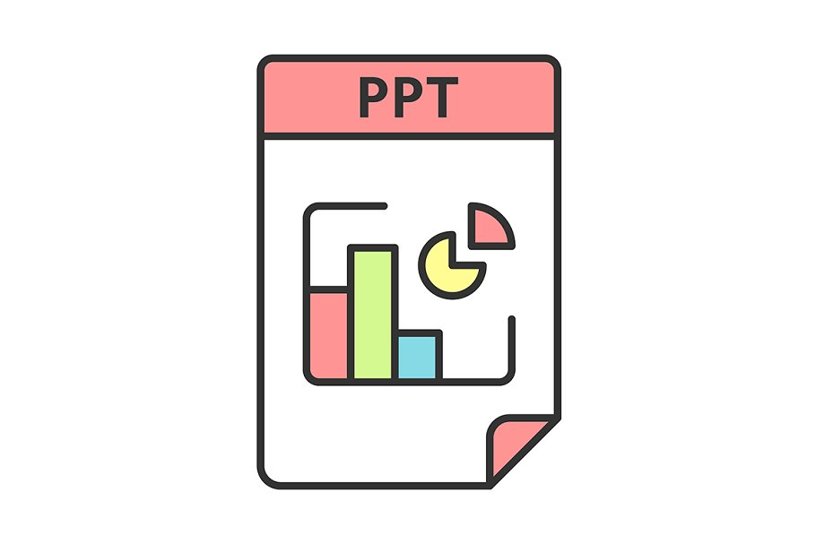 PPT file format color icon