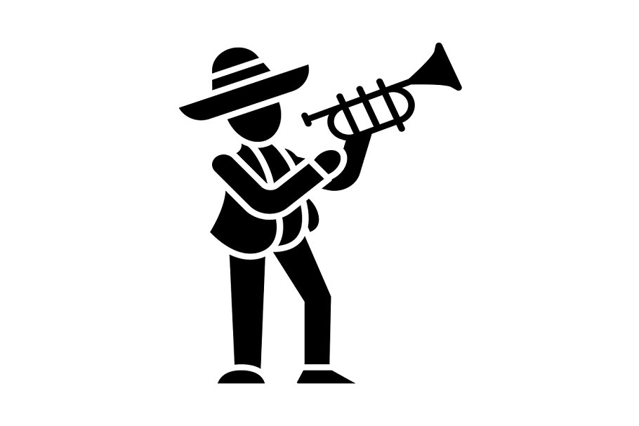 Mexican with trumpet glyph icon