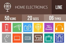 50 Electronics Line Multicolor Icons