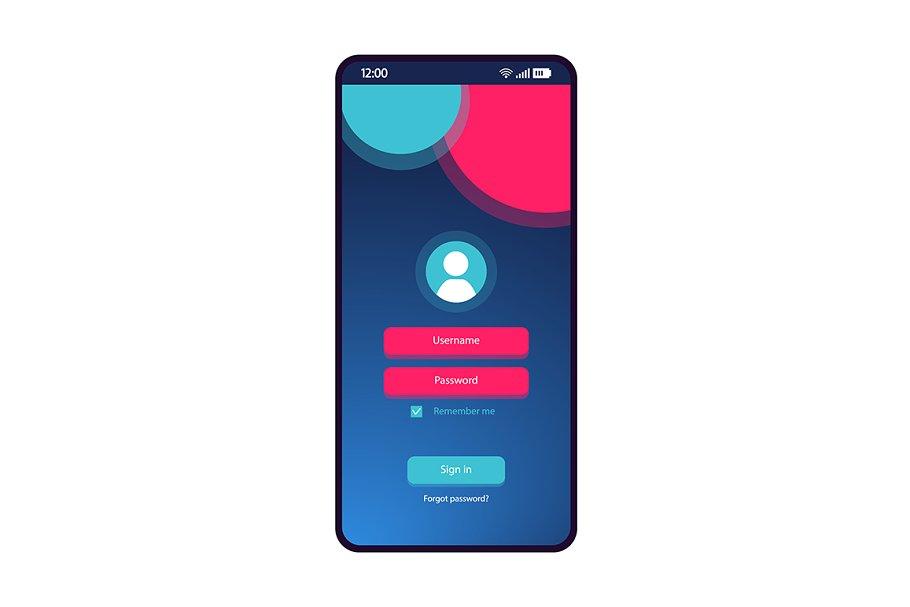Login page smartphone interface