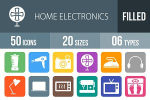 50 Electronics Round Corner Icons