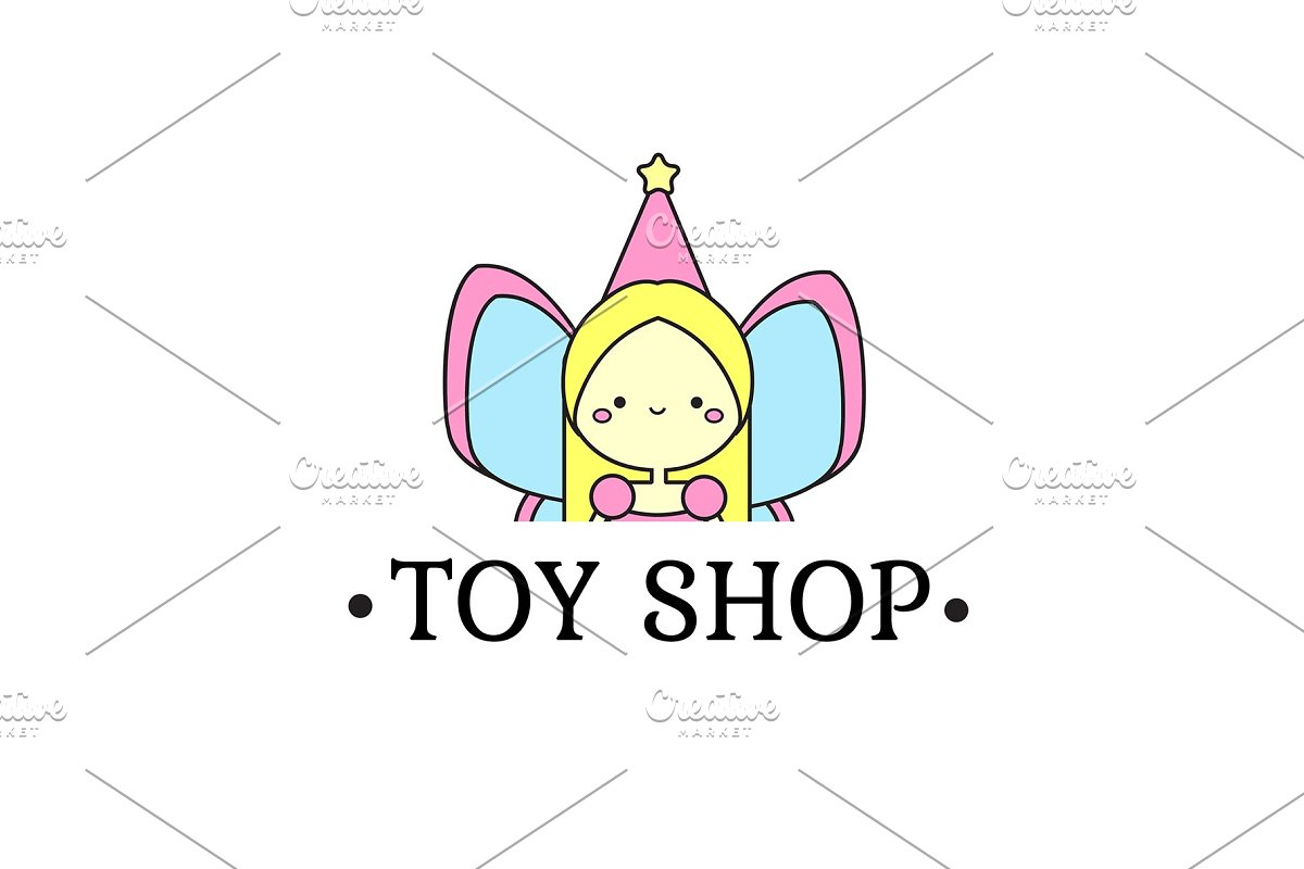Toy shop logo with fairy