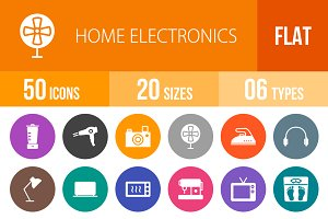 50 Home Electronics Flat Round Icons