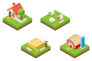 Farm Life isometric 3d Icons
