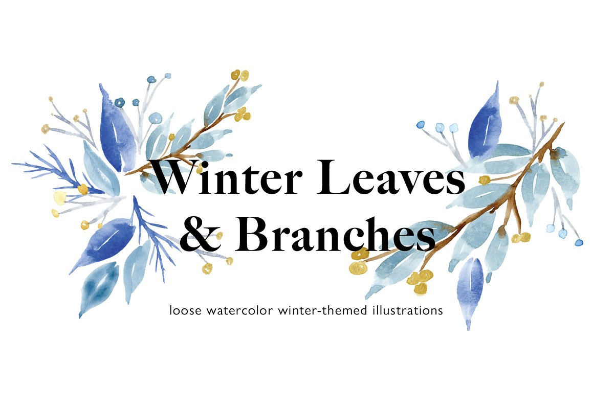 Winter Leaves & Branches Watercolor