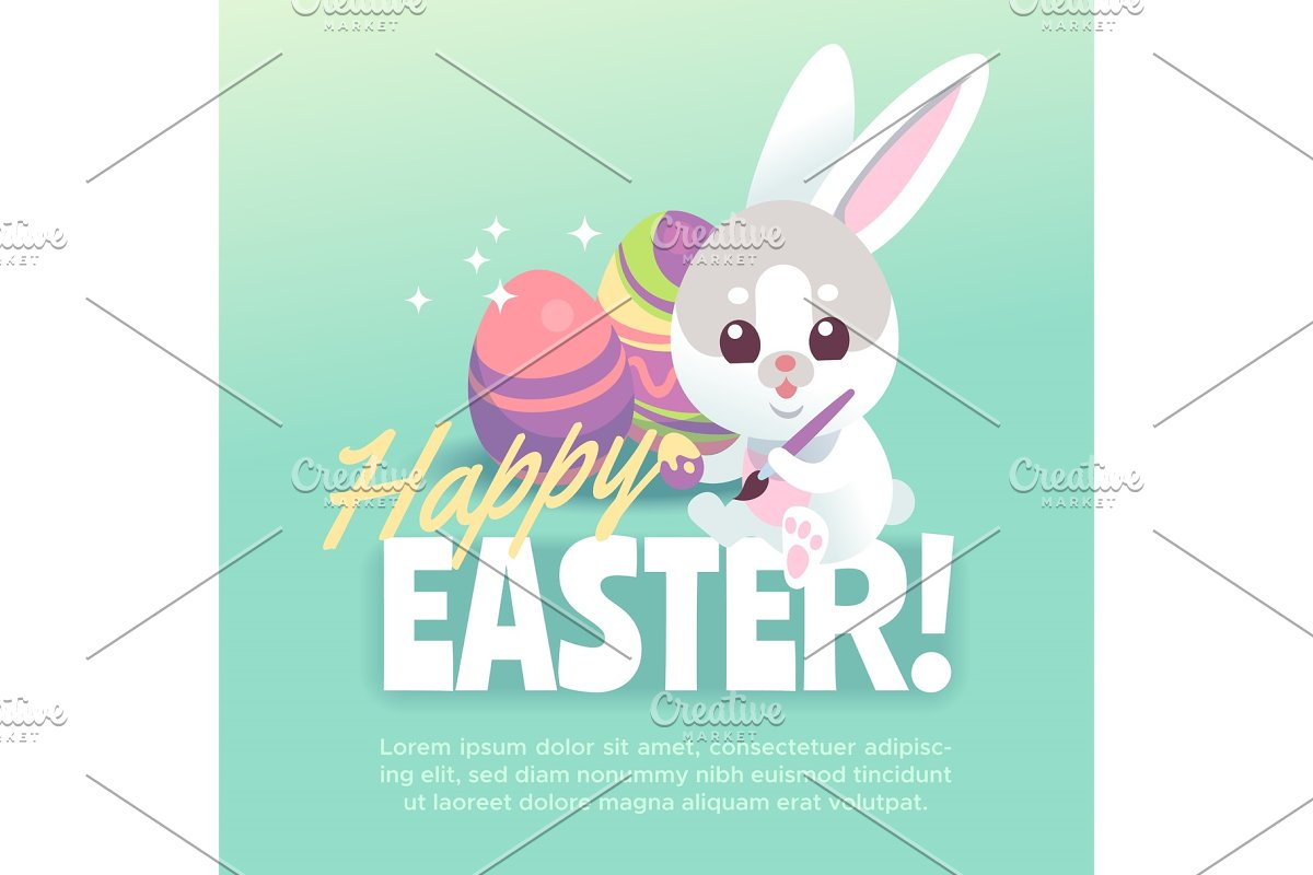 Happy easter bunny poster. Cute
